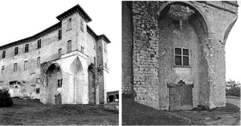 Massif occidental du château comtal.  Les tourelles en encorbellement et les grandes arcatures portant les balcons sont établis sur les bases d'un donjon médiéval.