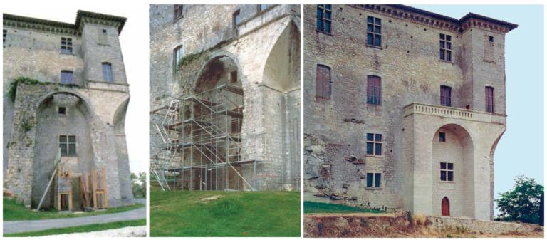 La galerie nord avant et après restauration